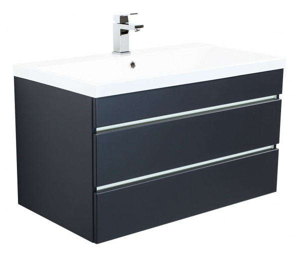 Vanity unit VIA 100 Anthracite Semi-Gloss with handleless drawers