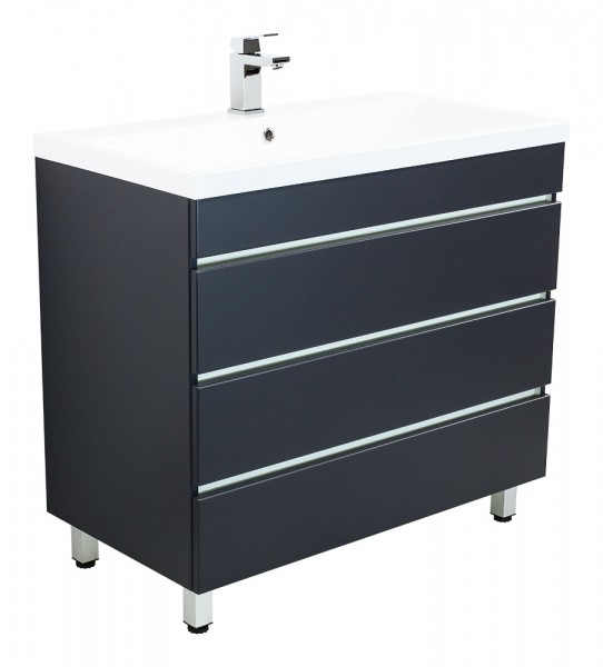 Standing vanity unit VIA 100 Anthracite Semi-Gloss with handleless drawers