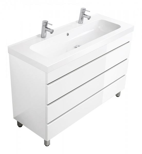 Standing double vanity unit TALIS 120 white high gloss with handleless drawers and with 2 holes