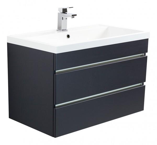 Vanity unit VIA 80 Anthracite Semi-Gloss with handleless drawers