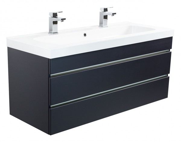Double vanity unit TALIS 120 Anthracite semi gloss with handleless drawers and with 2 holes