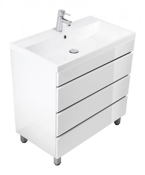 Standing vanity unit VIA 80 white high gloss with handleless drawers