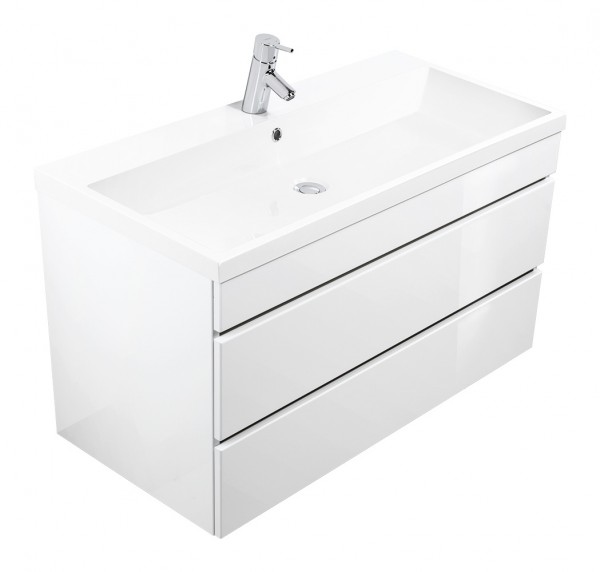 Vanity unit VIA 100 white high gloss with handleless drawers
