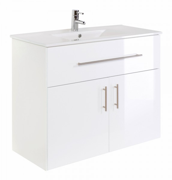 DOMINO 1000 Bathroom standing vanity unit White High-Gloss