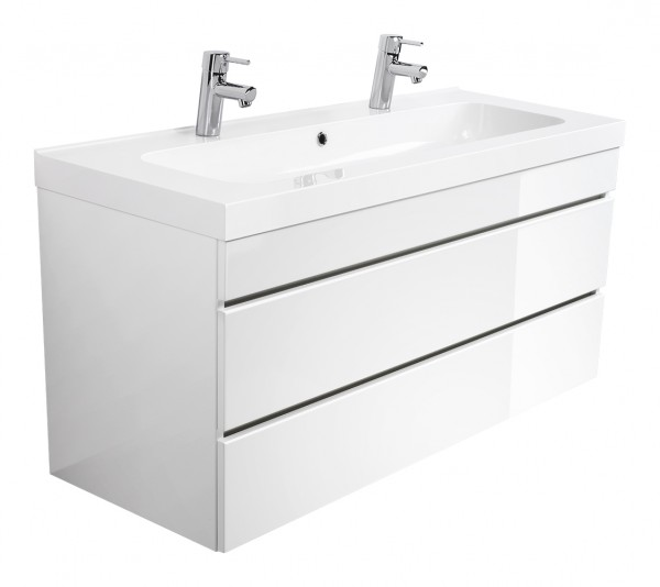 Double vanity unit TALIS 120 white high gloss with handleless drawers and with 2 holes