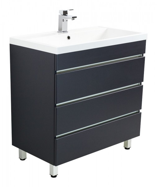 Standing vanity unit VIA 80 Anthracite Semi-Gloss with handleless drawers