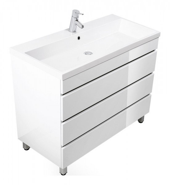 Standing vanity unit VIA 100 white high gloss with handleless drawers