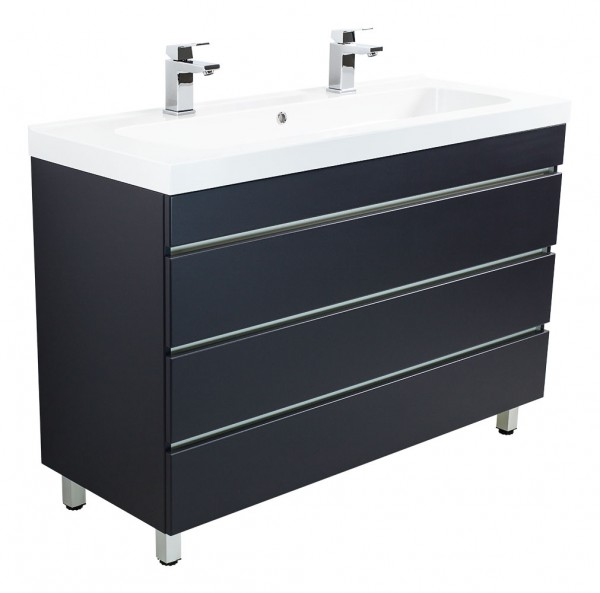 Standing double vanity unit TALIS 120 Anthracite semi gloss with handleless drawers and with 2 holes